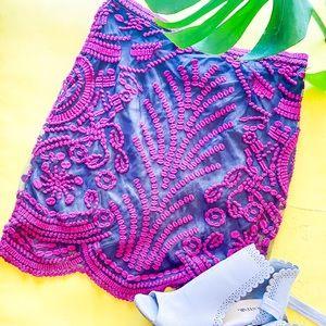 Yoana Baraschi Vintage Embroidered Pencil Skirt